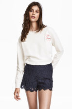 Lace shorts - Dark blue - Ladies | H&M 1