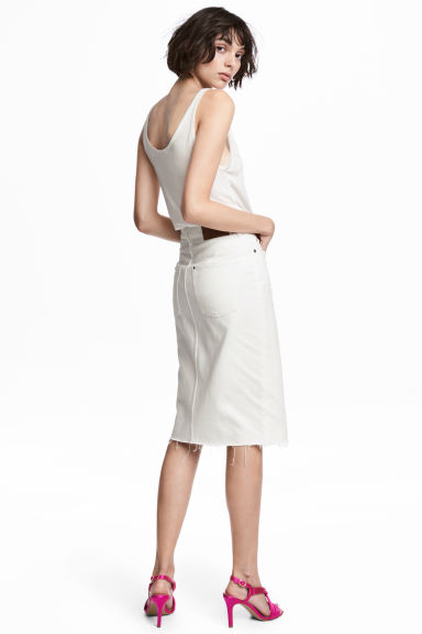 Zip-front denim skirt - White denim -  | H&M CN 1