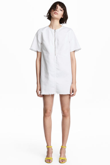 Denim dress - White denim - Ladies | H&M CN