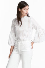 Hole-embroidered cotton blouse - White - Ladies | H&M CN 1