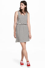 Sleeveless jersey dress - White/Striped - Ladies | H&M 1