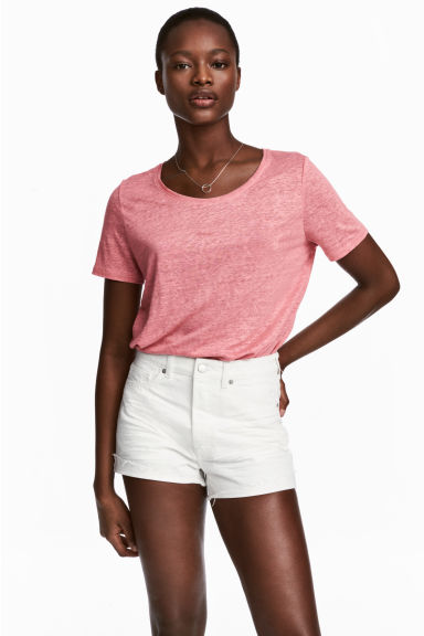 Linen round-neck top - Pink - Ladies | H&M 1