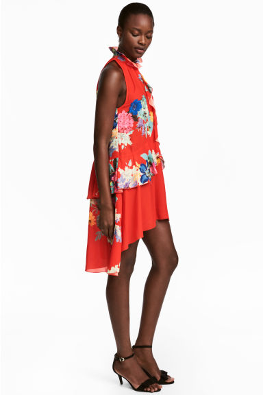 Patterned flounced dress - Red/Floral - Ladies | H&M 1