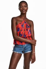 Patterned halterneck top - Red/Floral - Ladies | H&M 1