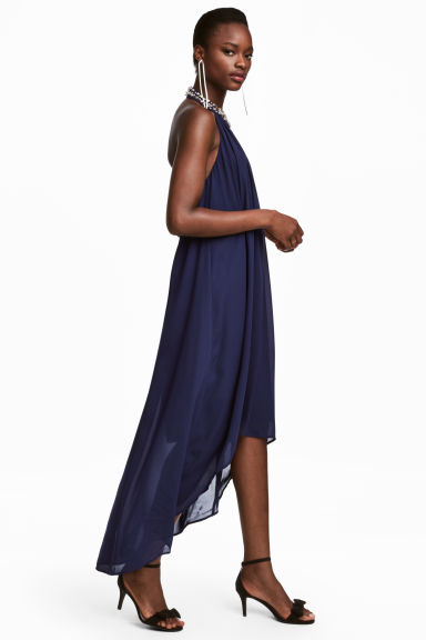 Chiffon halterneck dress - Dark blue - Ladies | H&M CN