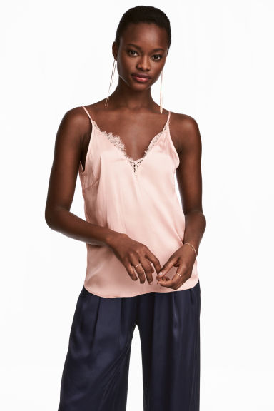 Satin top - Powder pink - Ladies | H&M 1
