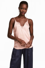 Satin top - Powder pink - Ladies | H&M CN 1