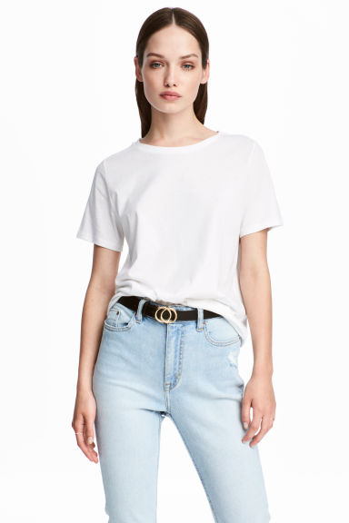 Cotton-blend T-shirt - White - Ladies | H&M 1