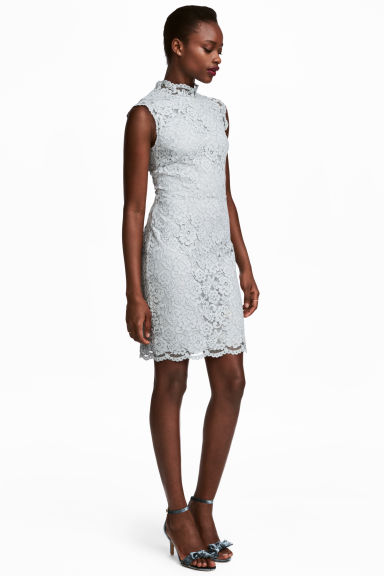 Lace dress - Light grey blue -  | H&M GB