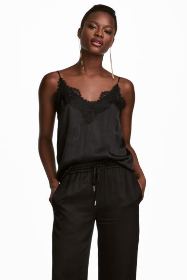 Top in satin con pizzo - Nero - DONNA | H&M IT 1