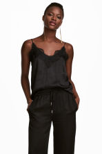 Strappy satin top with lace - Black - Ladies | H&M CN 1