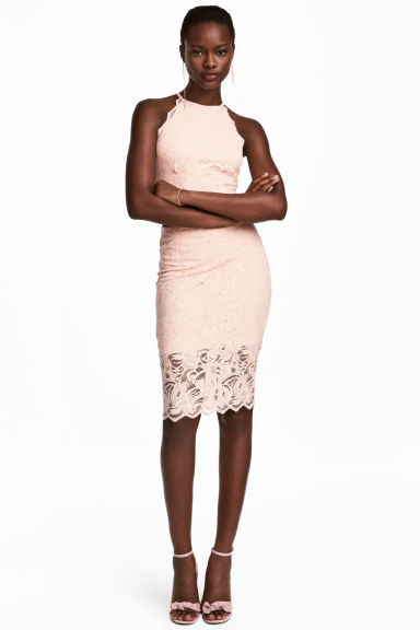 Fitted lace skirt - Powder pink - Ladies | H&M CN