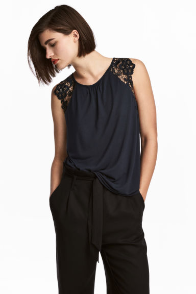 Top in jersey con pizzo - Blu scuro - DONNA | H&M IT 1