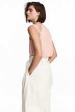 Jersey top with lace - Powder pink - Ladies | H&M CA 1