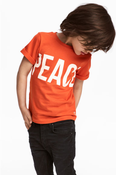 T-shirt avec impression - Orange/paix -  | H&M BE