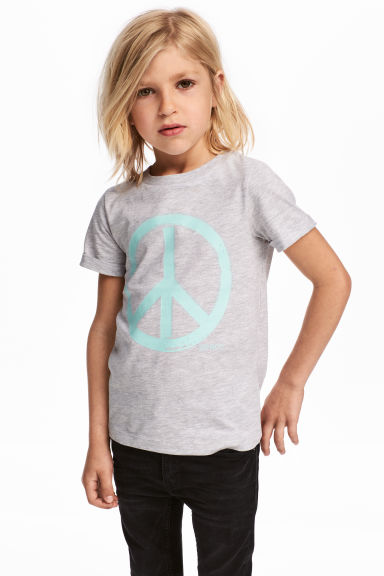 Printed T-shirt - Light grey/Peace sign - Kids | H&M IE 1