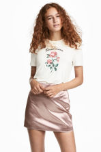 Jersey top with embroidery - Off-white/rose - Ladies | H&M CA 1