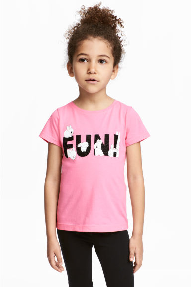 Printed jersey top - Pink - Kids | H&M CN