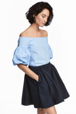 Off-the-shoulder blouse - Light blue - Ladies | H&M CN 1