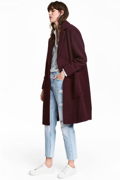 Wool-blend coat - Plum - Ladies | H&M 1