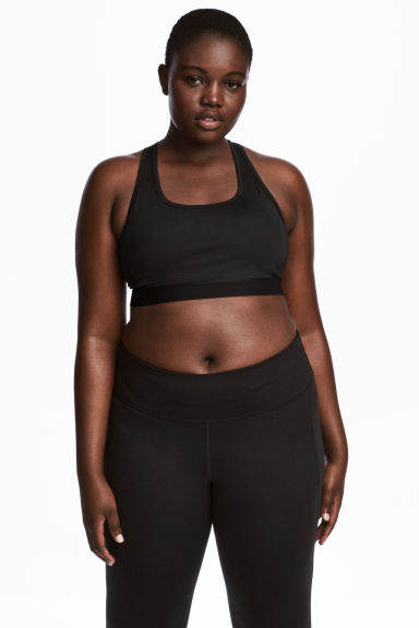 H&M+ Sports bra Medium support - Black -  | H&M