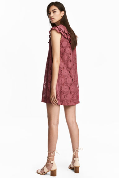 Frilled lace dress - Vintage pink - Ladies | H&M 1