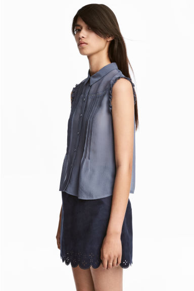 Sleeveless blouse - Pigeon blue - Ladies | H&M 1