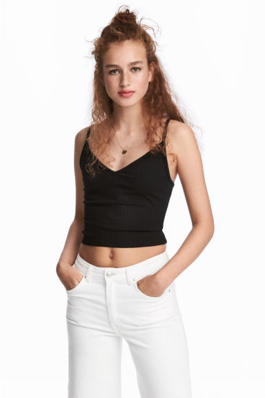 Jersey crop top - Black - Ladies | H&M IE 1