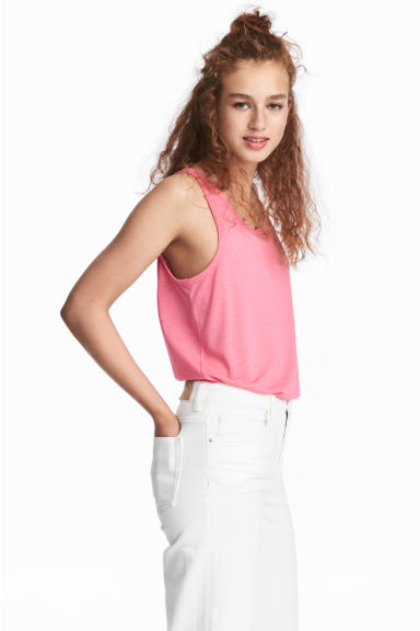 Wide vest top - Pink - Ladies | H&M GB