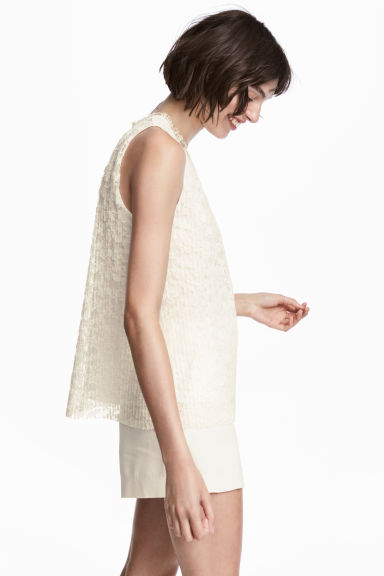 Top in pizzo plissettato - Bianco naturale - DONNA | H&M IT 1