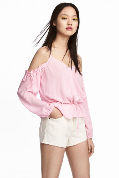 Off-the-shoulder blouse - Pink - Ladies | H&M