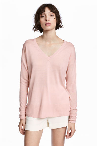 Fine-knit Sweater - Light pink - Ladies | H&M CA 1