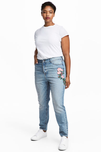 H&M+ Slim High Ankle Jeans - Light denim blue/Floral - Ladies | H&M