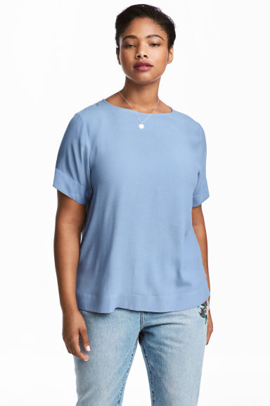 H&M+ Crêpe top - Blue - Ladies | H&M
