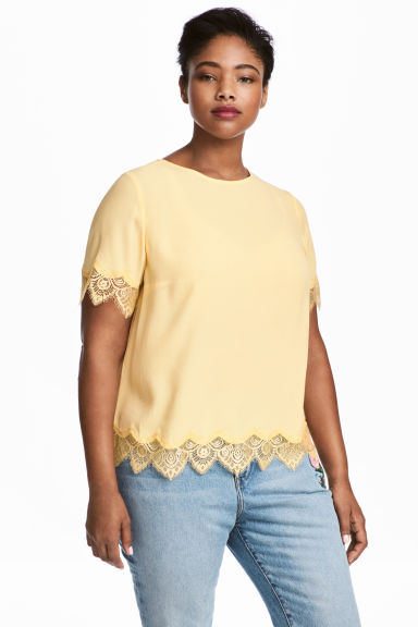 H&M+ Crêpe top - Light yellow - Ladies | H&M CN