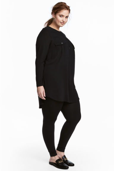 H&M+ Crêpe tunic - Black -  | H&M GB