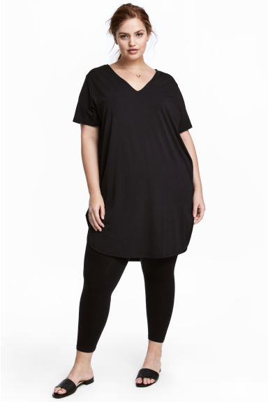 H&M+ V-neck jersey tunic - Black - Ladies | H&M 1