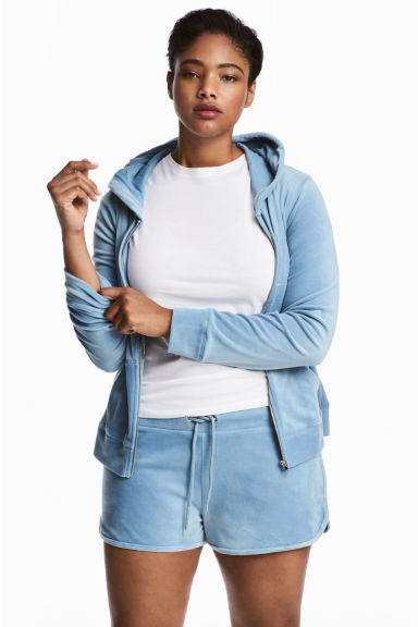 H&M+ Velour shorts - Light blue - Ladies | H&M 1