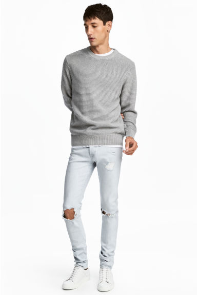 Skinny Low Trashed Jeans - Super light denim - Men | H&M 1