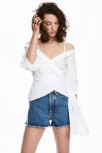 Wrapover cotton blouse - White - Ladies | H&M 1