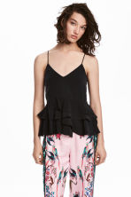 Flounced strappy top - Black -  | H&M CA 1