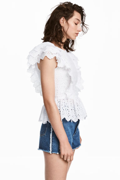 Blouse with broderie anglaise - White -  | H&M GB 1