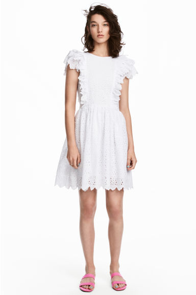 Dress with broderie anglaise - White -  | H&M GB