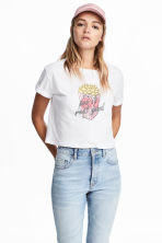 Cropped T-shirt - White/Popcorn - Ladies | H&M 1