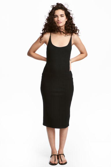 Ribbed jersey dress - Black - Ladies | H&M GB