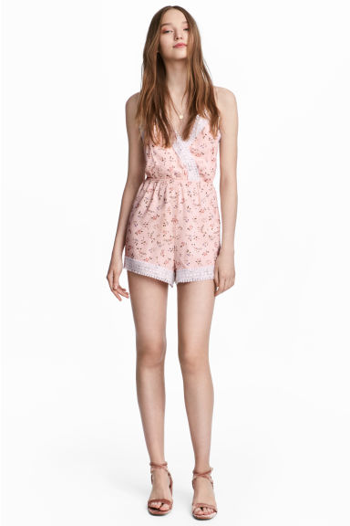 Playsuit with lace - Pink/Floral - Ladies | H&M 1
