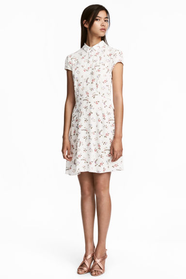 Crêpe dress - White/Floral -  | H&M