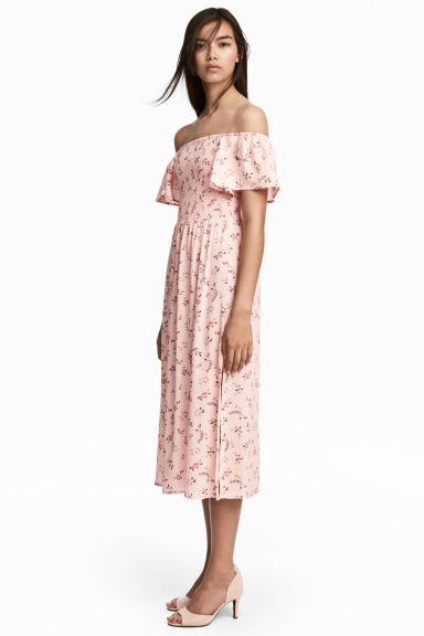 Long viscose dress - Pink/Patterned - Ladies | H&M CA 1