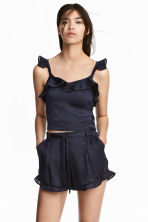 Cropped flounced top - Dark blue -  | H&M 1
