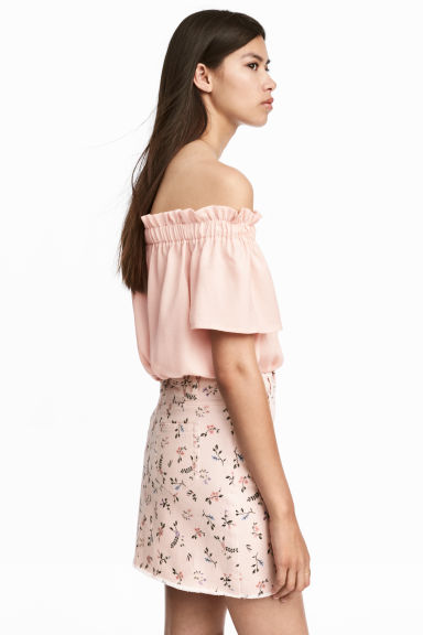Denim Skirt - Powder pink/floral - Ladies | H&M CA